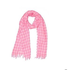 Jcrew neon pink and white plaid scarf